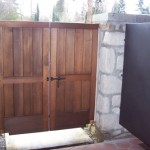 Double Wooden Gate with Dark Bronze Barrel Bolt