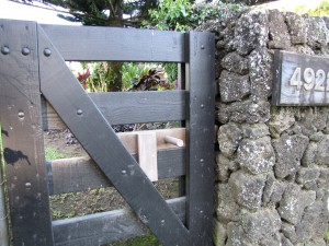 Rustic Wooden Gate Latch on Entry Gate in Hanalei, Kauai