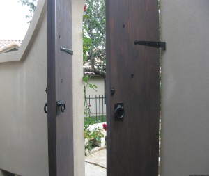 Courtyard Doors opened to show workings of strap hinges