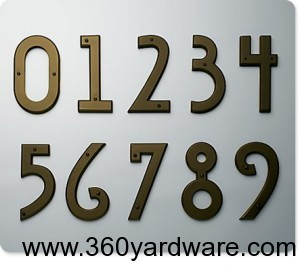 Mission Style House Numbers by Atlas Homewares in Aged Bronze