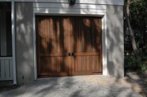 Wood Garage Door with Decorative Garage Door Hardware