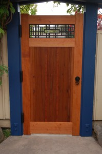 Inside view of Japanese Style Garden Gate with Shoji-Inspired Window, Gate made of redwood