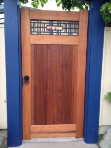 Japanese Shoji-Inspired Asian Redwood Garden Gate with Ginkgo Gate Hardware