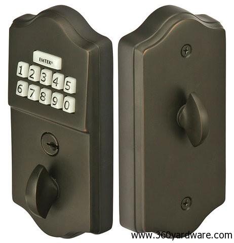Emtek Keyless Gate Lock E1000 Brass Electronic Deadbolt