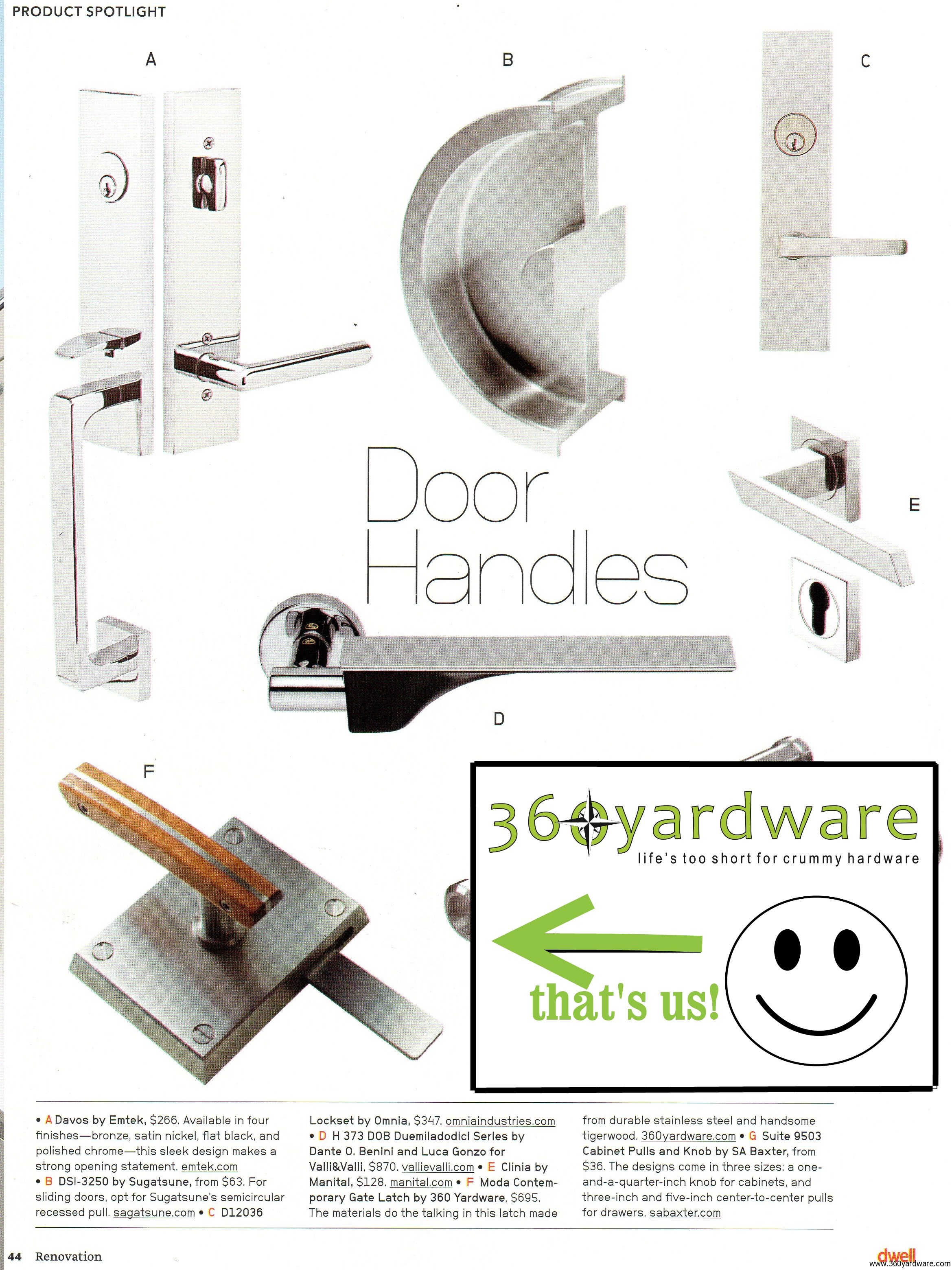 """360 Yardware's Moda Contemporary Gate Latch on Page 44 of Dwell Magazine's Special Issue """"Renovation"""""""