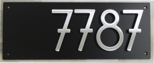 """Offset Plaque in Satin Black with 5"""" Bungalow Style Numbers"""