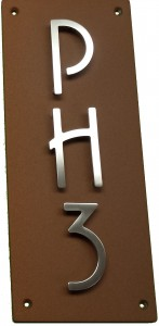Vertical Condo Unit Plaque with Stainless Steel Address Numbers and LEtters