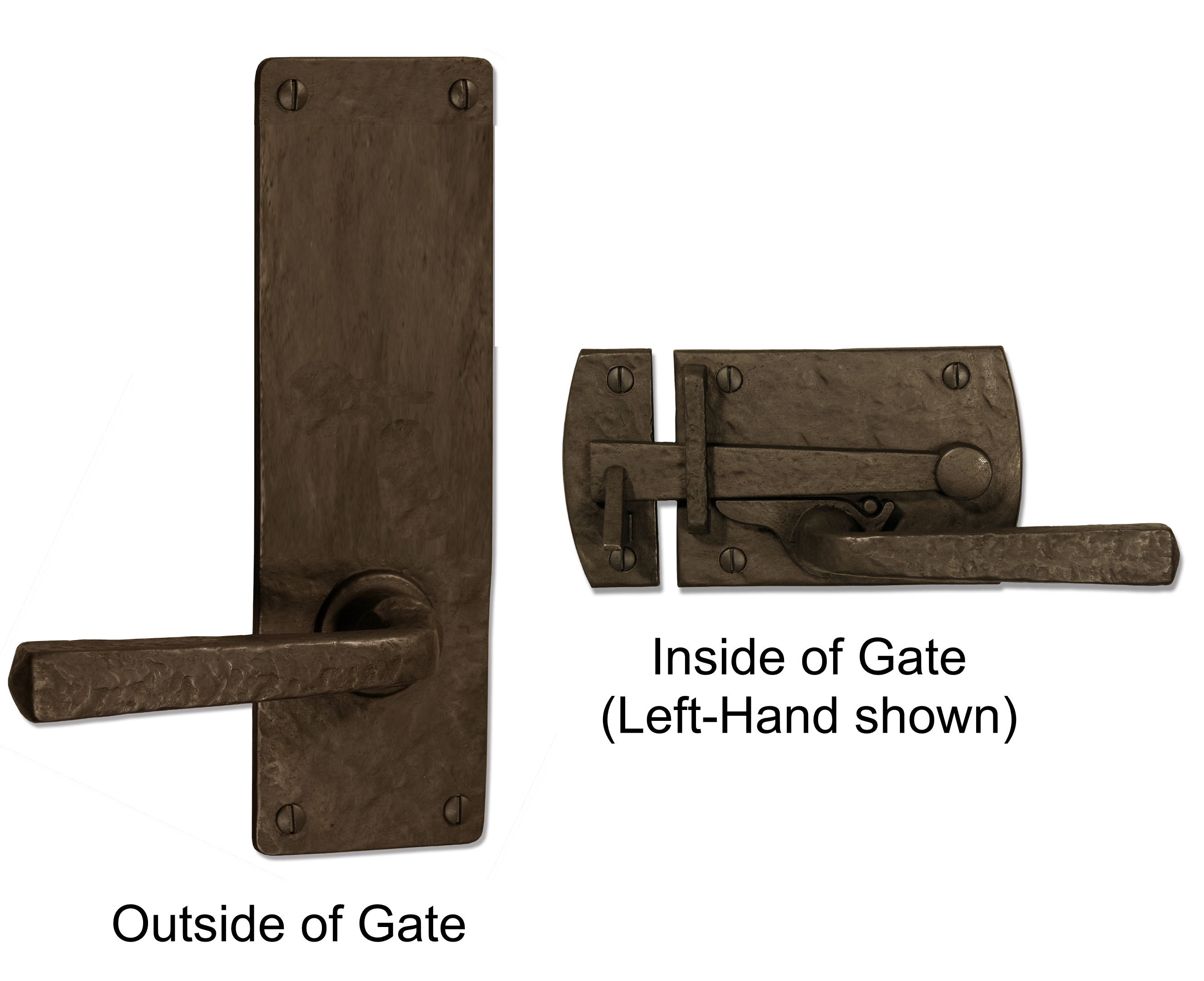Contemporary large gate latch for elegant doors and gates