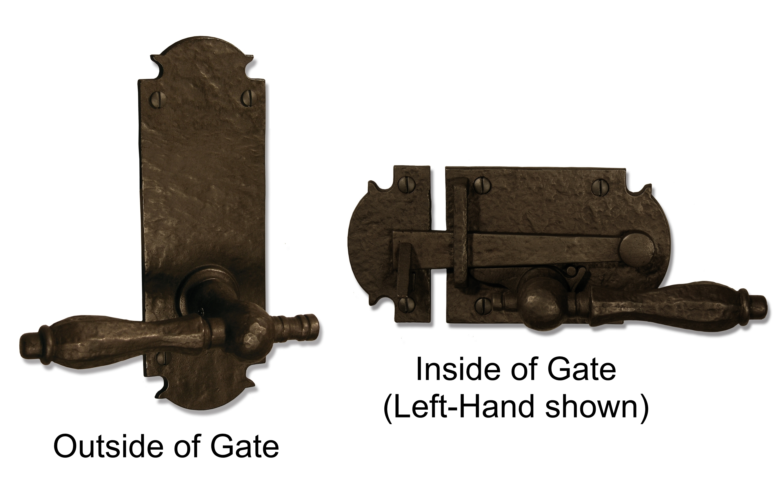 Bronze gate latch hardware with lever