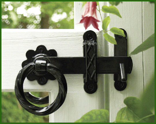 Twisted ring two-sided gate latch