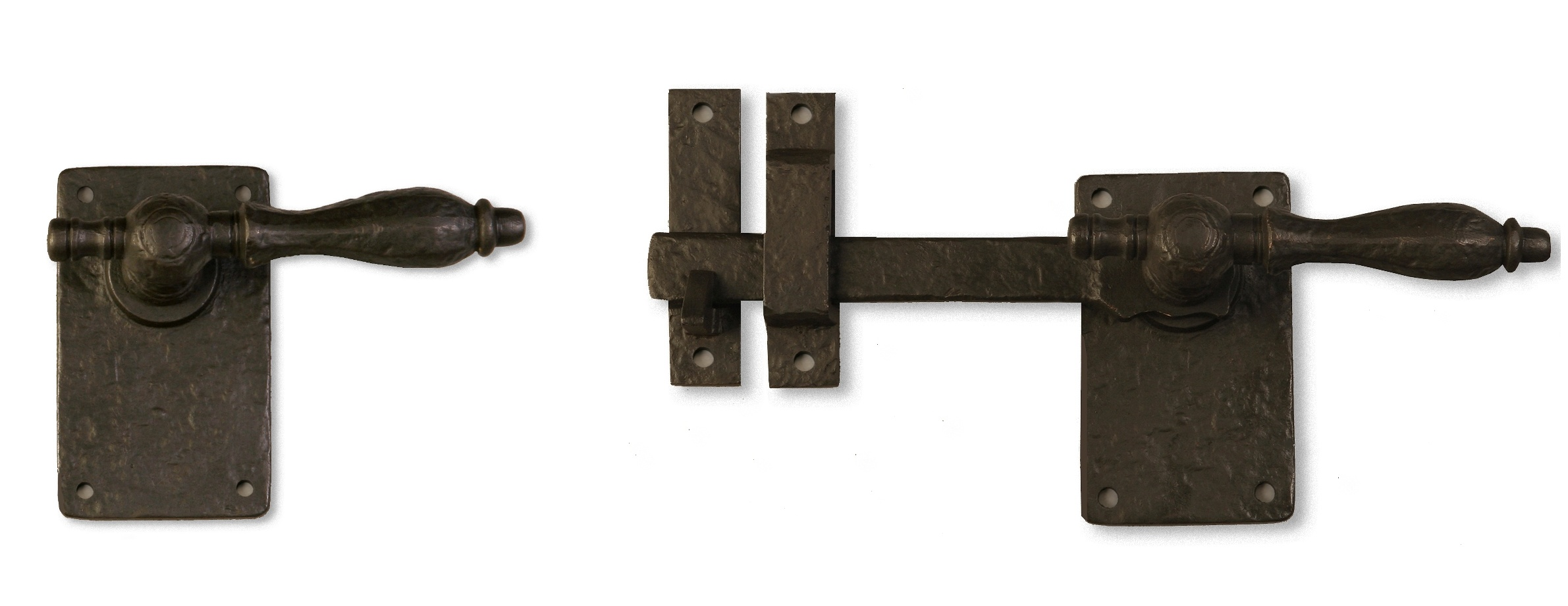 Dark Bronze Lever Gate Latch with rounded handle, a rustic and traditional gate latch