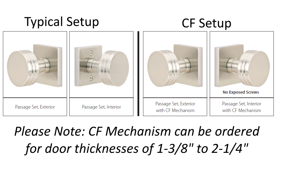 Emtek CF Mechanism For Door Knob Concealed Fasteners
