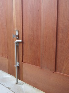 Brushed stainless steel cane bolt drop bolt for double entry gates