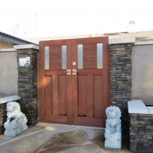 Sapele double wooden entry gate with stainless gate latch and deadbolt