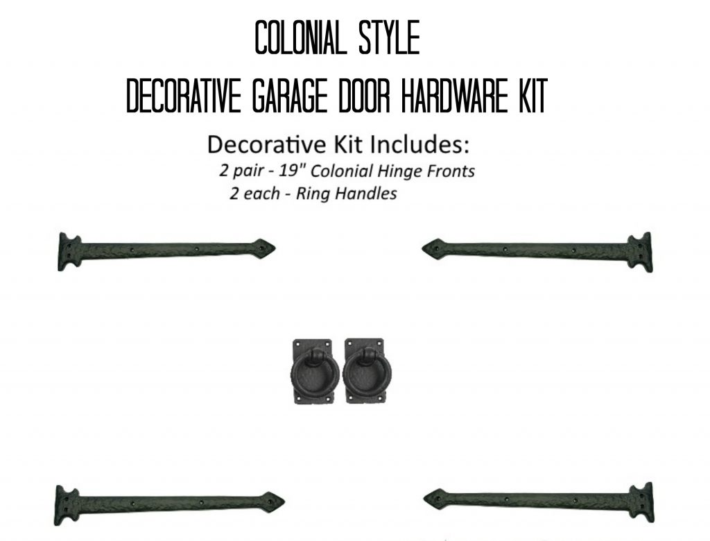 Colonial Style Decorative Garage Door Hardware Kit