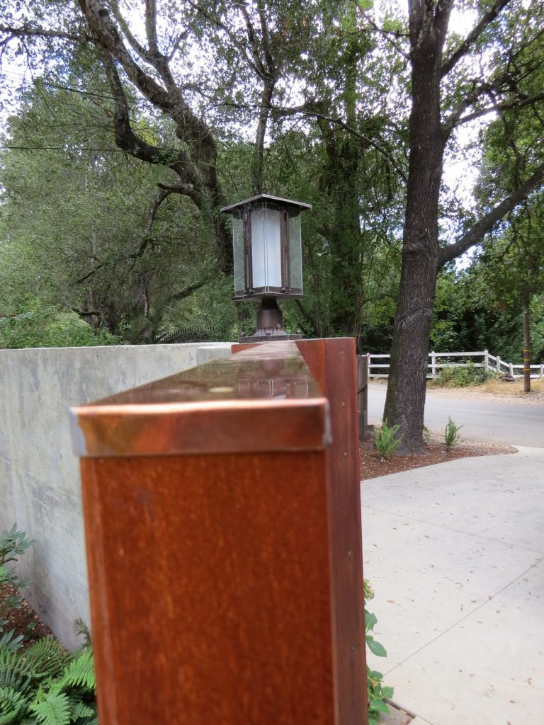 Copper Cap on Mahogany Gate