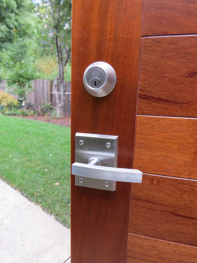 Stainless Steel Alta Gate Latch with Round Deadbolt on Mahogany custom Gate