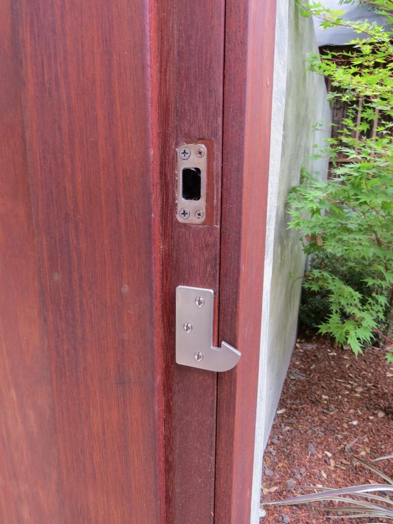 Wood Gate Stop and Jamb with Gate Latch Strike and Deadbolt Strike