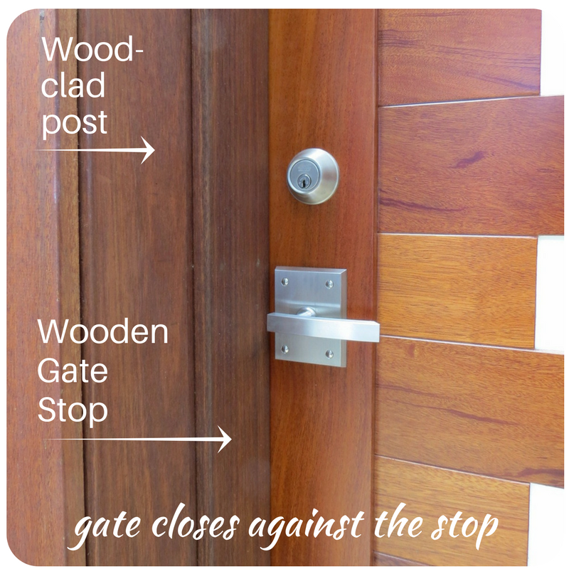 Wooden gate stop and wood jamb