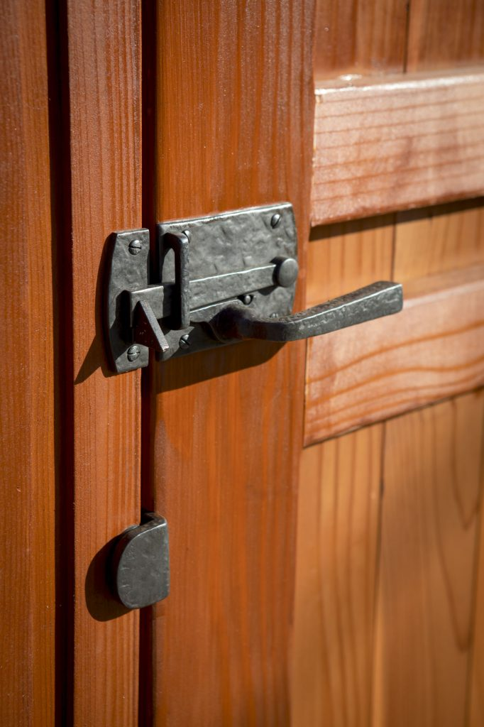 Coastal Bronze contemporary gate latch 60-360 on Craftsman gate style