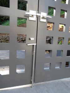 Interior View of Double Gate with Alta Contemporary and Brushed Stainless Cane Bolt