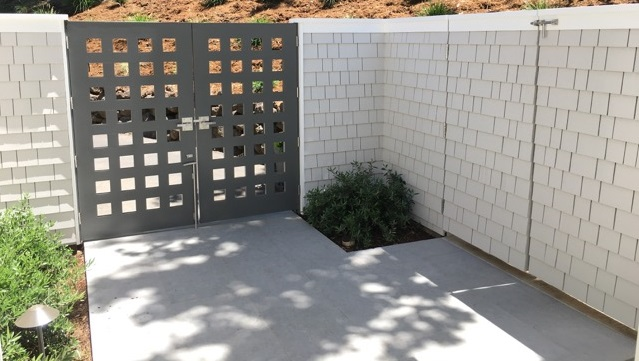 Pool Courtyard with double gate by Russell Fong and hardware by 360 yardware
