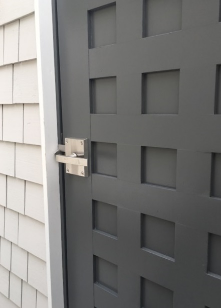 Stainless Steel Alta Latch on Pool House Dressing Room Door