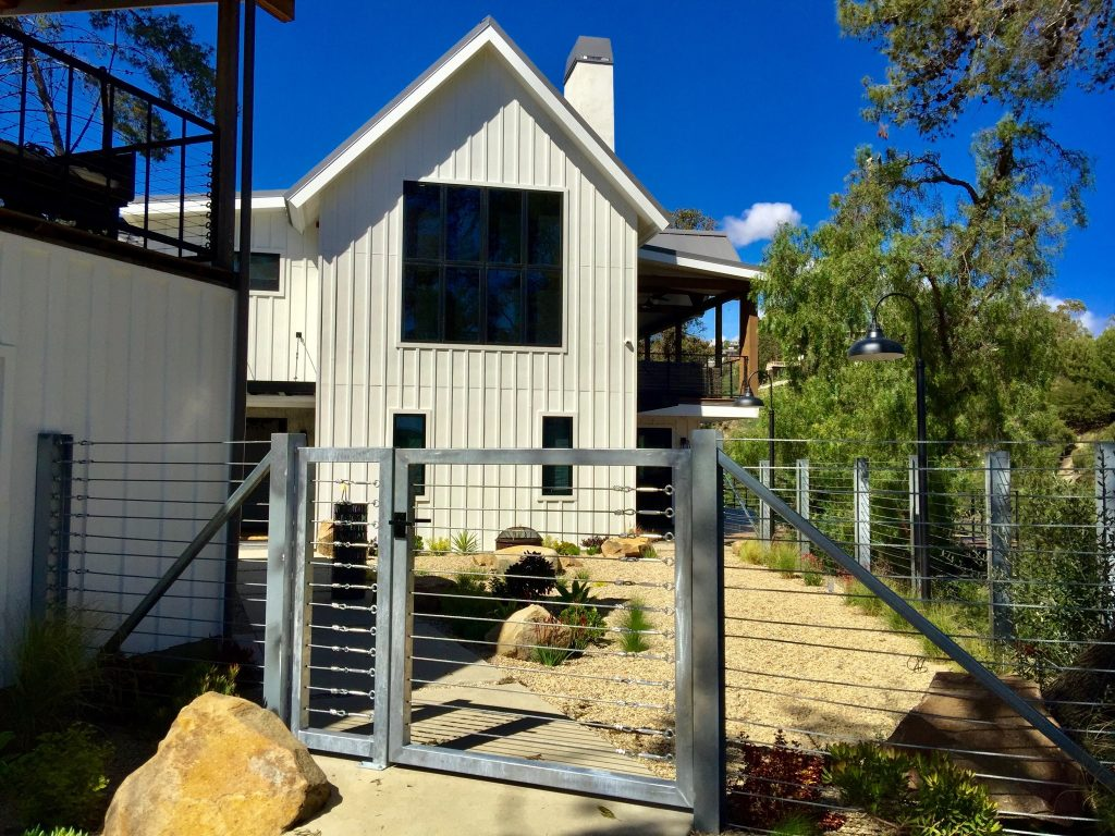 Contemporary Farmhouse with Nero Latch on Stainless Gate and Fence