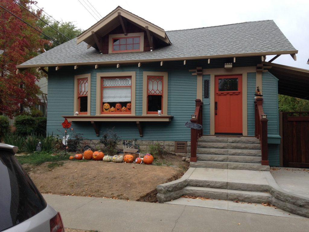 Craftsman house with bright colors